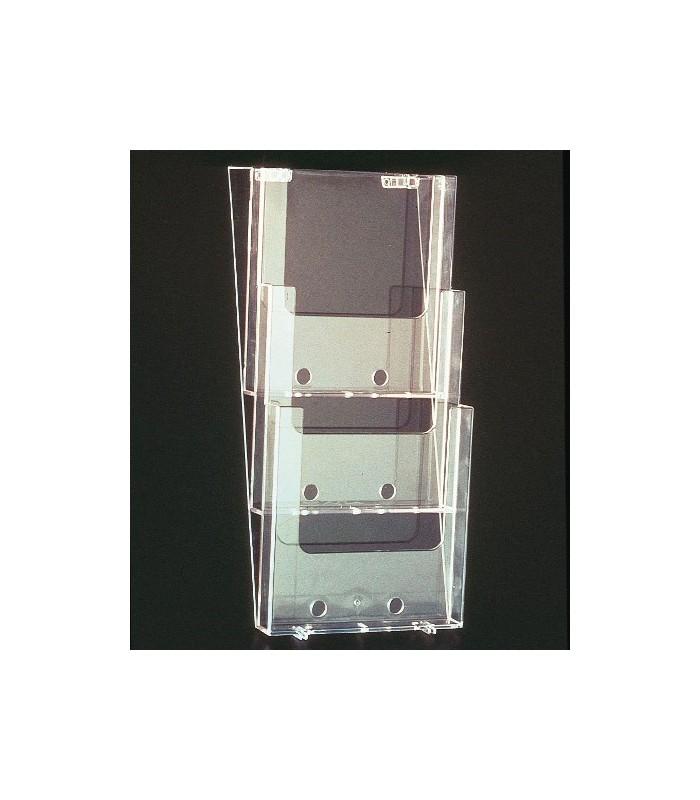Brochure Holder Wall Mount A4 X 3 Pocket Shop Basics