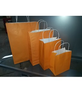 Orange Paper Bags with Carry Handle