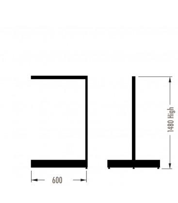 MAXe Gondola S3 Add-On Bay - Double Sided - 1480Hx600W - White
