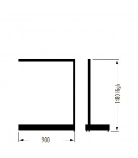 MAXe Gondola S3 Add-On Bay - Single Sided - 1480Hx900W - White
