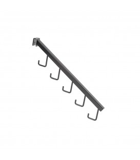 Angled Arm with 5 hooks to suit Rectangular Rail - Black - 405mmL - made from 18 x 18mm Tube