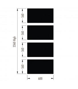 Infill Panels - Metal Peg - Black - suit 2380Hx600W Units (inc Panel Brackets)