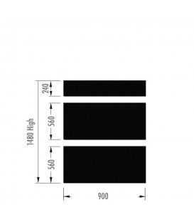 Infill Panels - Metal Peg - Black - suit 1480Hx900W Units (inc Panel Brackets)