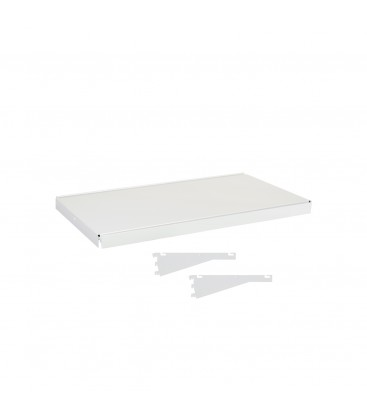 Fast Fit Metal Shelf inc Dual Angle Brackets - suit 600W Bay - White - 300D x 30mm Thick