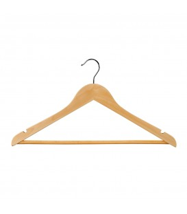Hanger Shirt/Pants Timber with Rail and Notches 440mm wide Beech