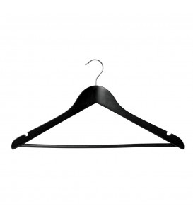 Hanger Shirt/Pants Timber with Rail and Notches 440mm wide Black