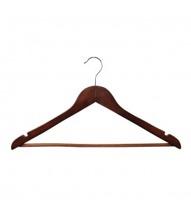Hanger Shirt/Pants Timber with Rail and Notches 440mm wide Walnut