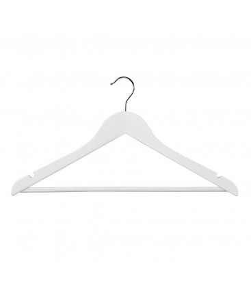 Hanger Shirt/Pants Timber with Rail and Notches 440mm wide White