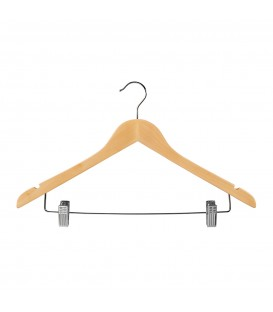 Hanger Shirt Timber with Clips 440mm wide Beech