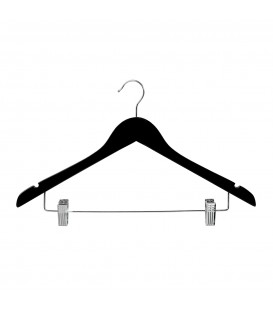 Hanger Shirt Timber with Clips 440mm wide Black