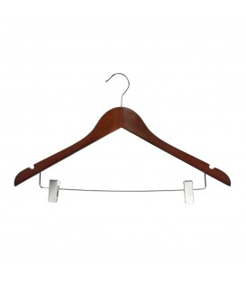 Hanger Shirt Timber with Clips 440mm wide Walnut