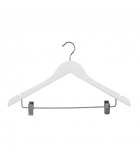 Hanger Shirt Timber with Clips 440mm wide White