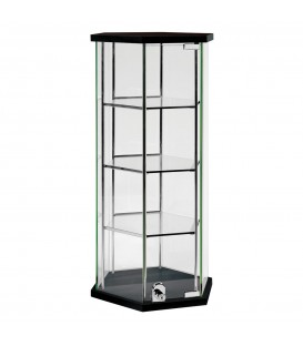 Hexagon Glass Counter Showcase Black