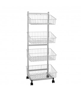 4 Tier Basket Single Sided Trolley Stand White