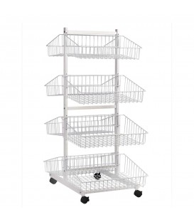 4 Tier Basket Double Sided Trolley Stand White