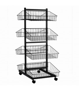 4 Tier Basket Double Sided Trolley Stand Black